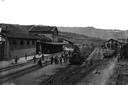 Arrivo del treno alla stazione ferroviaria di Porretta Terme