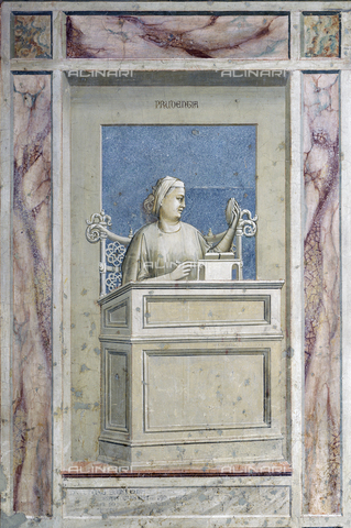 Title allegory of prudence painted by giotto on the lower part of the